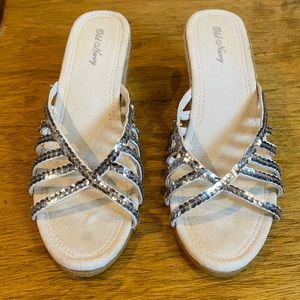 GUC White Silver Sequin Espadrille Wedge Sandal